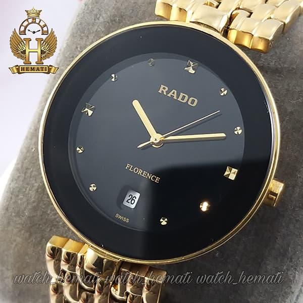 قیمت ساعت زنانه رادو فلورانس Rado Florence RDFOL100 قاب و بند طلایی دور قاب و صفحه مشکی