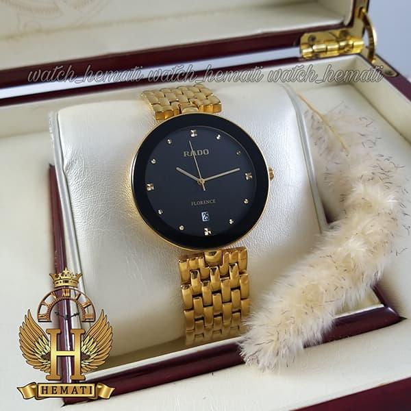 خرید انلاین ساعت رادو مردانه فلورانس Rado Florence RDFOM100 قاب و بند طلایی ، صفحه و دور شیشه مشکی