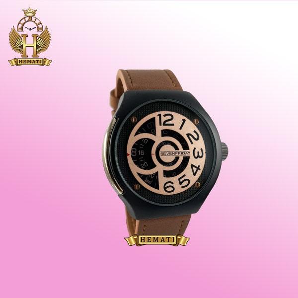 خرید ساعت مردانه سون فرایدی کپی مدل Sevenfriday sfm201 8715 بند عسلی صفحه رزگلد