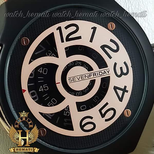 خرید انلاین ساعت سون فرایدی های کپی ارزان قیمت مردانه مدل Sevenfriday sfm201 8715 بند عسلی صفحه رزگلد