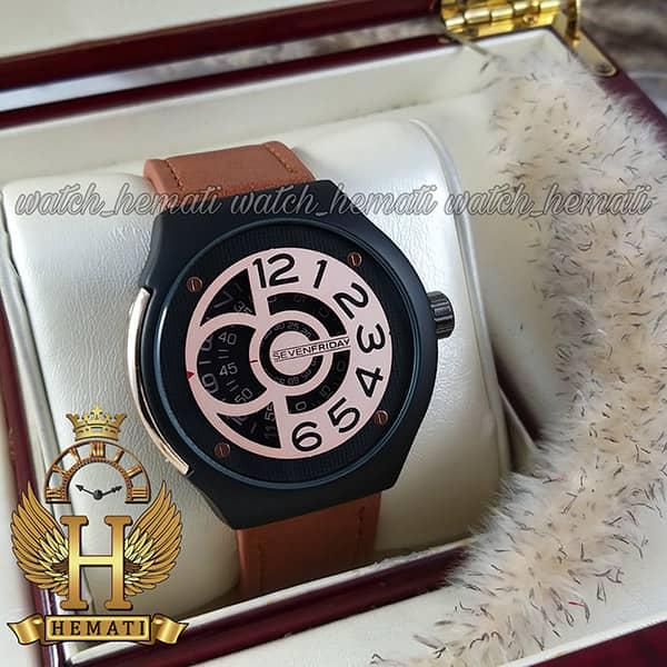 خرید اینترنتی ساعت سون فرایدی های کپی ارزان قیمت مردانه مدل Sevenfriday sfm201 8715 بند عسلی صفحه رزگلد