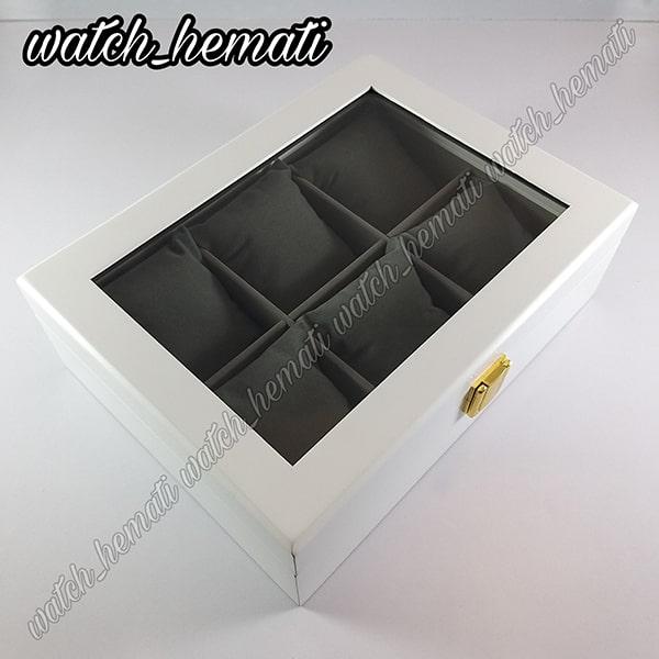 خرید ارزان جعبه ساعت لوکس کلکسیونی چوبی 6تایی رنگ سفید box6101