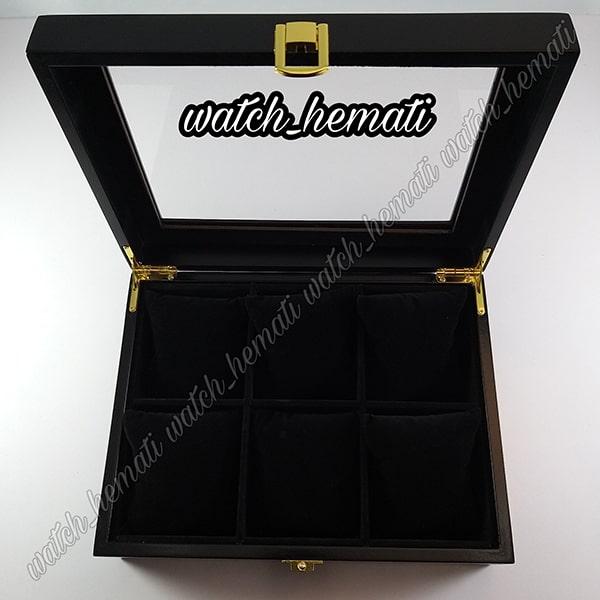 خرید جعبه ساعت لوکس کلکسیونی چوبی 6تایی رنگ مشکی box6103 درب روی جعبه شیشه ای