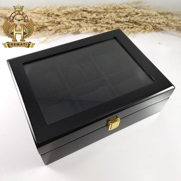 قیمت جعبه ساعت لوکس کلکسیونی چوبی 6تایی رنگ مشکی box6103 درب روی جعبه شیشه ای
