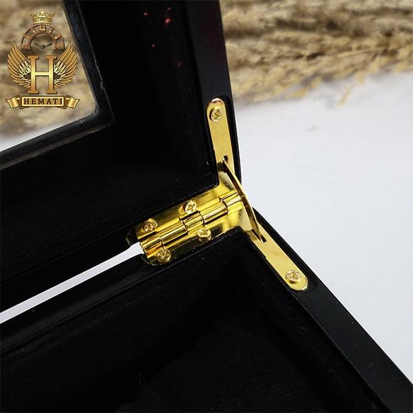 خرید انلاین جعبه ساعت لوکس کلکسیونی چوبی 6تایی رنگ مشکی box6103 درب روی جعبه شیشه ای