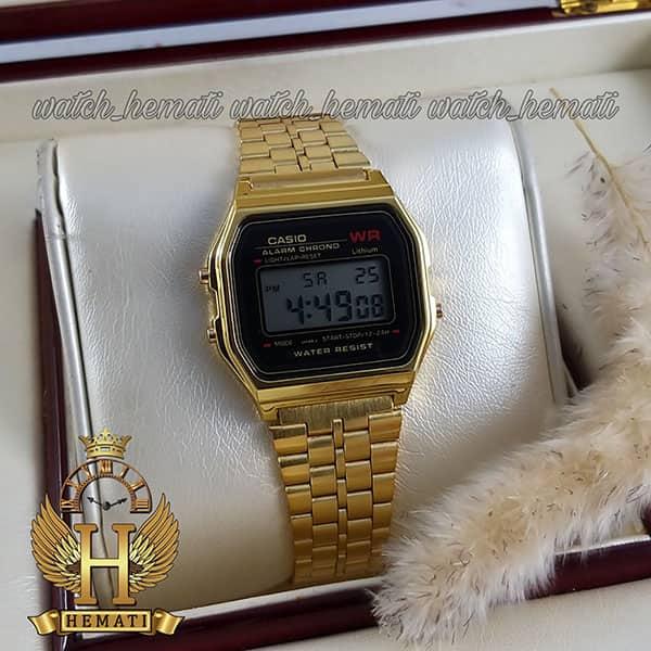 ساعت اسپرت کاسیو نوستالژی CASIO A159WA-N1DF طلایی (صفحه مشکی)