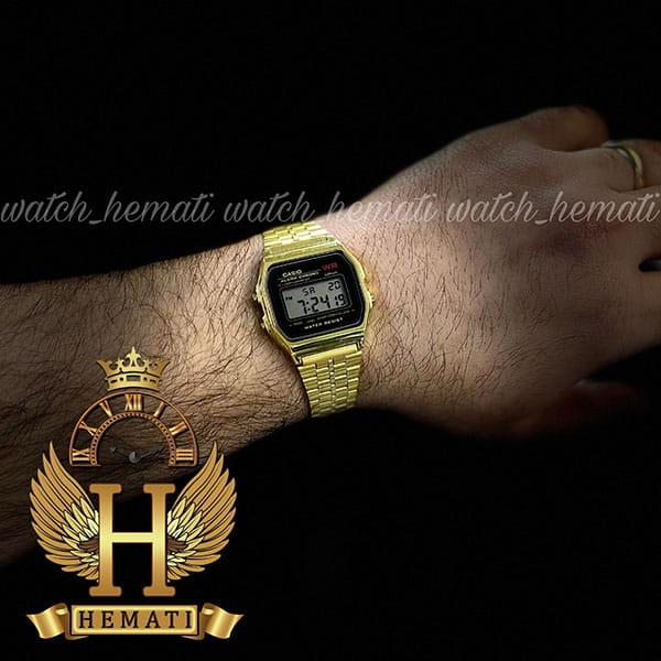 خرید ارزان ساعت اسپرت کاسیو نوستالژی CASIO A159WA-N1DF طلایی (صفحه مشکی)