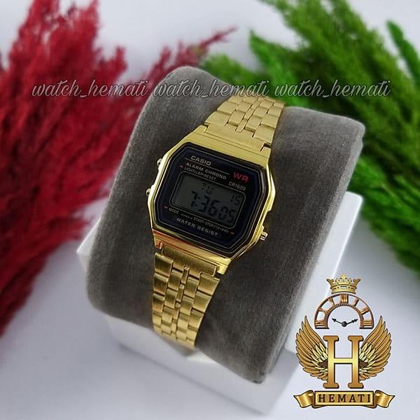 ساعت زنانه کاسیو نوستالژی CASIO A159WA-1 طلایی (صفحه مشکی)