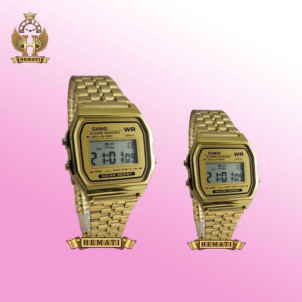 ساعت ست زنانه و مردانه کاسیو مدل Casio A159W طلایی مناسب عروس و داماد