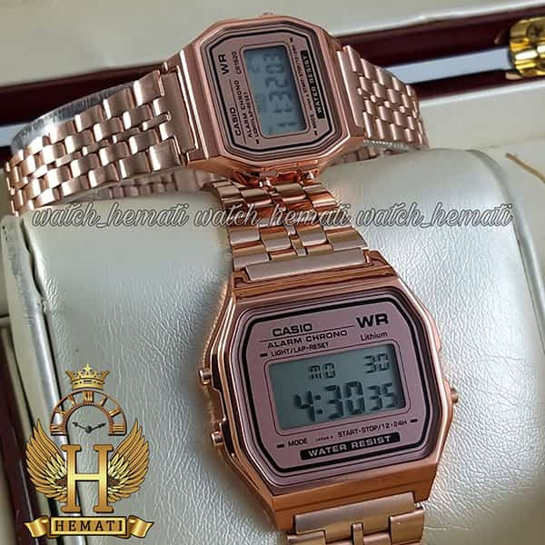 خرید ، قیمت ، مشخصات ساعت ست زنانه و مردانه کاسیو نوستالژی CASIO A159W رزگلد