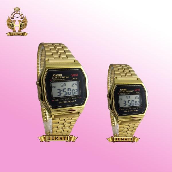 خرید ساعت ست زنانه و مردانه کاسیو CASIO T341B طلایی با دورقاب مشکی کپی