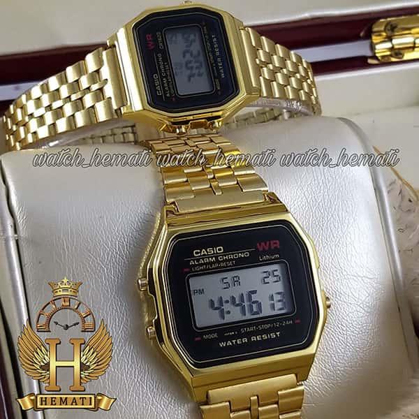 ساعت ست زنانه و مردانه کاسیو نوستالژی CASIO A159W طلایی (صفحه مشکی)