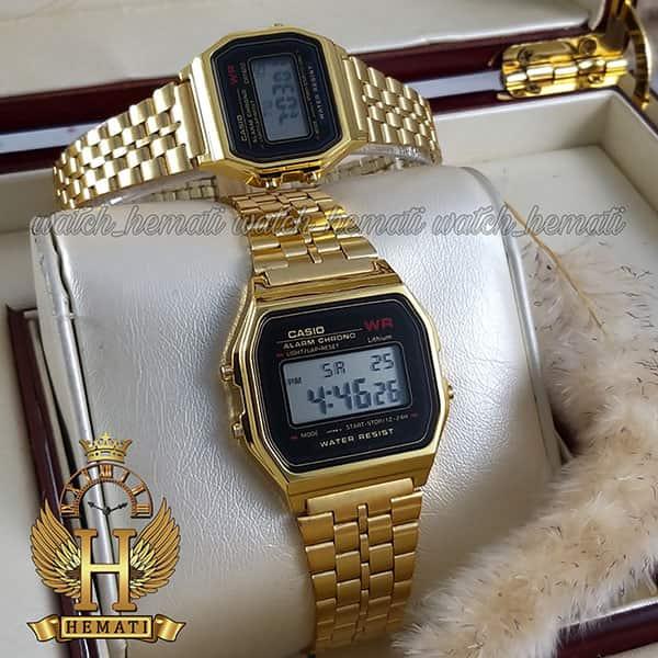 خرید اینترنتی ساعت ست زنانه و مردانه کاسیو نوستالژی CASIO A159W طلایی (صفحه مشکی)