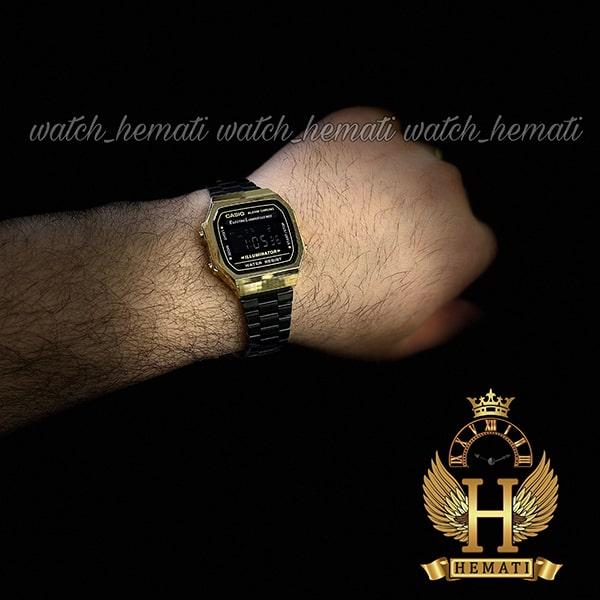 خرید ساعت اسپرت کاسیو نوستالژی CASIO A168 مشکی-طلایی
