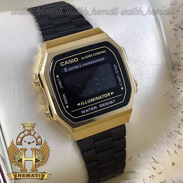 قیمت ساعت اسپرت کاسیو نوستالژی CASIO A168 مشکی-طلایی