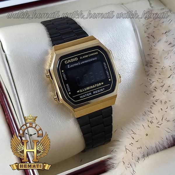 مشخصات ساعت اسپرت کاسیو نوستالژی CASIO A168 مشکی-طلایی