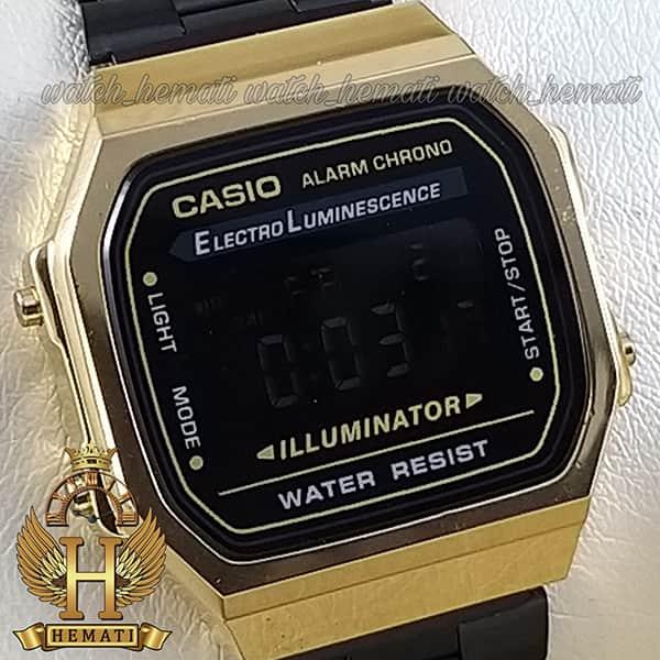 خرید ارزان ساعت اسپرت کاسیو نوستالژی CASIO A168 مشکی-طلایی