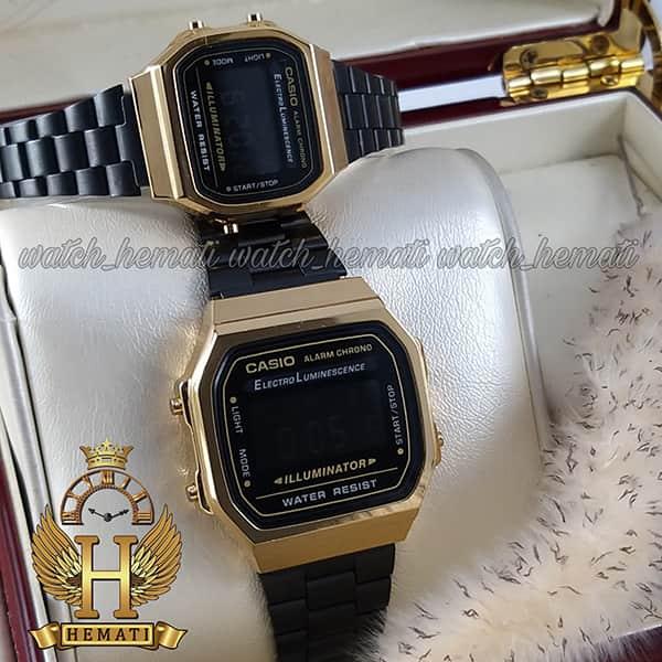 خرید ارزان ساعت ست کاسیو نوستالژی CASIO A168 مشکی-طلایی