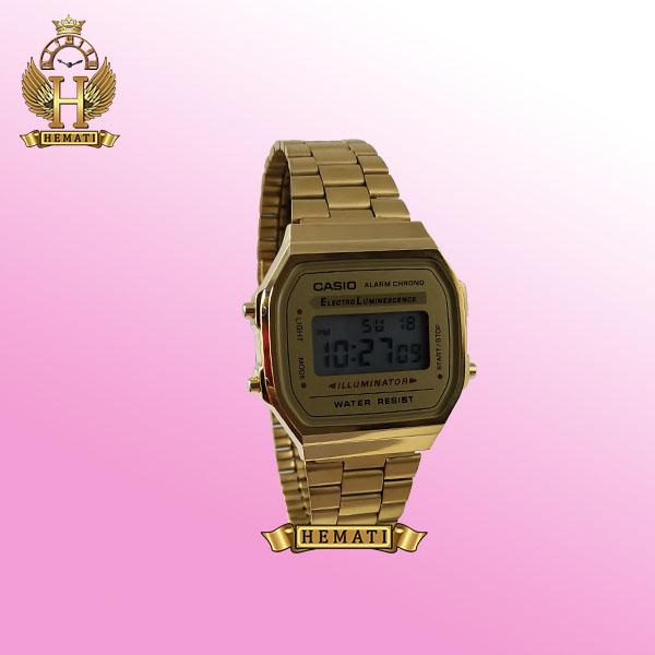 ساعت اسپرت کاسیو نوستالژی CASIO A168 طلایی (صفحه طلایی)