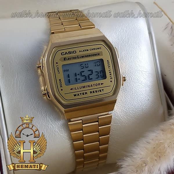 خرید ساعت اسپرت کاسیو نوستالژی CASIO A168 طلایی (صفحه طلایی)