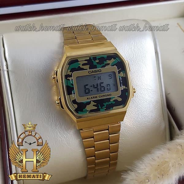 قیمت ساعت اسپرت کاسیو CASIO A168WE طلایی (صفحه چریکی)