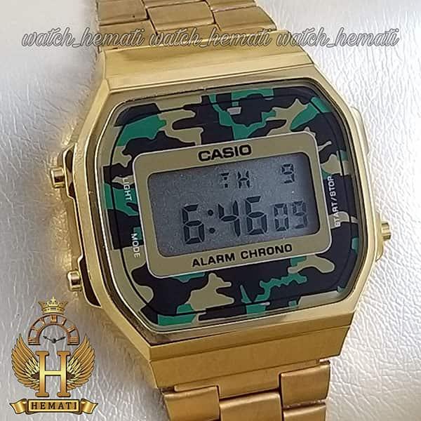 مشخصات ساعت اسپرت کاسیو CASIO A168WE طلایی (صفحه چریکی)