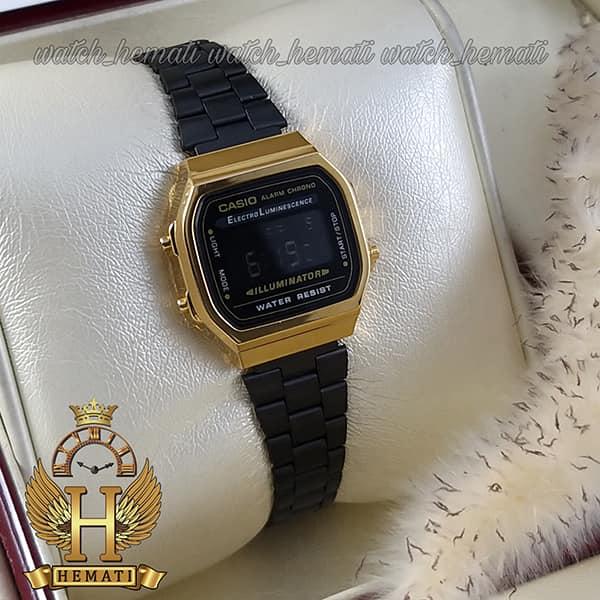 خرید اینترنتی ساعت زنانه کاسیو نوستالژی CASIO A168W مشکی-طلایی
