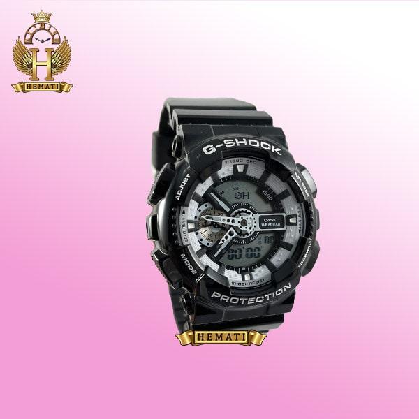 ساعت مردانه کاسیو جی شاک Casio G-Shock GA-110-BW مشکی دارای تقویم و دید در شب