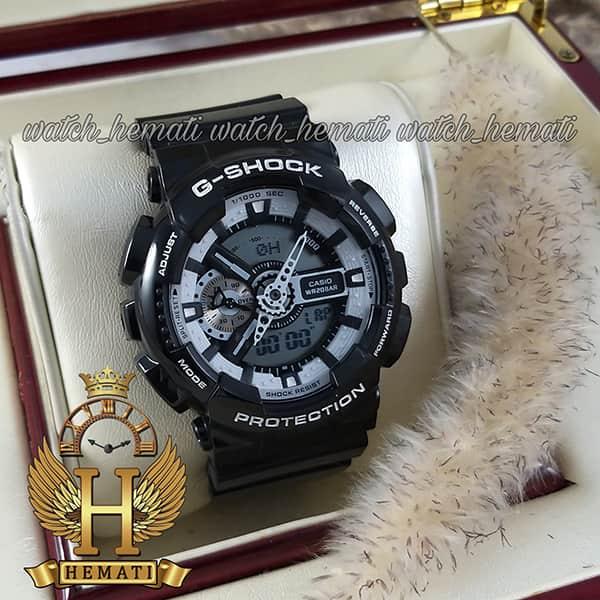 خرید ، قیمت ، مشخصات ساعت مردانه کاسیو جی شاک Casio G-Shock GA-110BW مشکی دارای تقویم و دید در شب