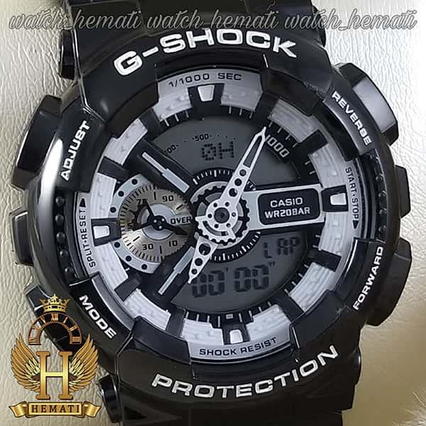 خرید ارزان ساعت مردانه کاسیو جی شاک Casio G-Shock GA-110BW مشکی دارای تقویم و دید در شب