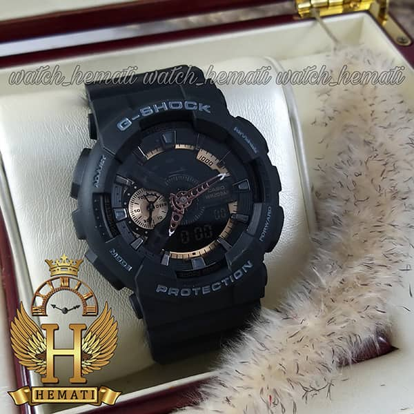 مشخصات ساعت مردانه کاسیو جی شاک مدل Casio G-Shock GA-110RG مشکی رزگلد دارای تقویم