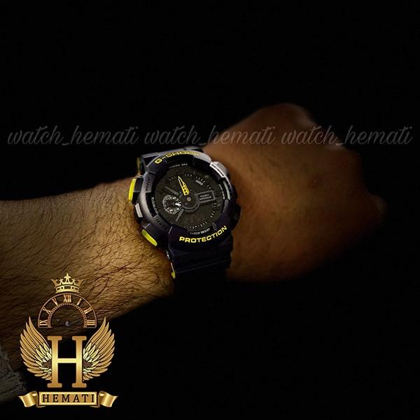 خرید اینترنتی ساعت مردانه کاسیو جی شاک Casio G-Shock GA-110RG رنگ سرمه ای زرد