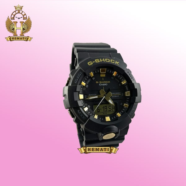 ساعت اسپرت مردانه کاسیو جی شاک Casio G-Shock GA-810B مشکی و طلایی تقویم دار و چراغ دید در شب