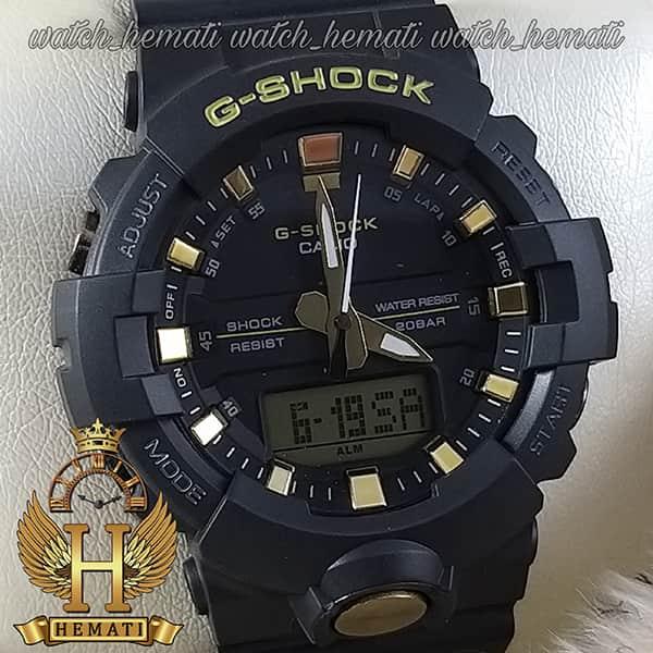 خرید اینترنتی ساعت اسپرت مردانه کاسیو جی شاک Casio G-Shock GA-810B مشکی و طلایی تقویم دار و چراغ دید در شب