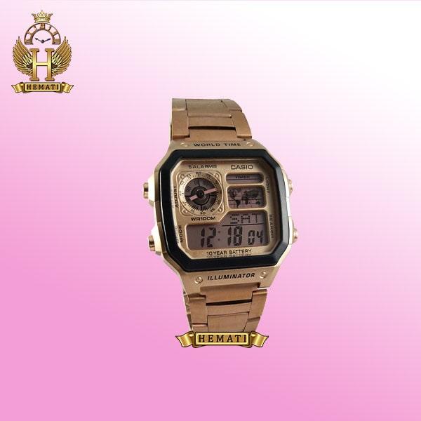 خرید ساعت مردانه کاسیو جهان نما Casio World Time AR-1900TC رزگلد هایکپی دیجیتالی