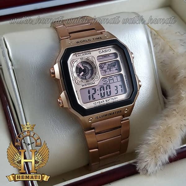 خرید اینترنتی ساعت مردانه کاسیو جهان نما Casio World Time AE-1200WHD-1AVDF رزگلد