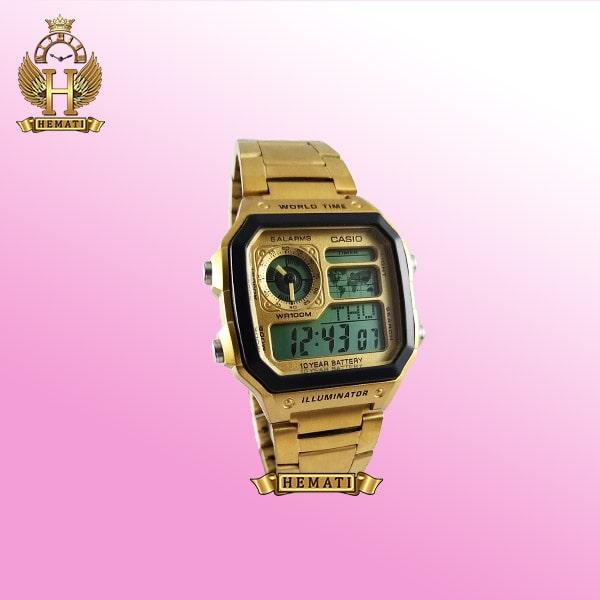 ساعت مردانه کاسیو جهان نما Casio World Time AE-1200WHD-1AVDF طلایی