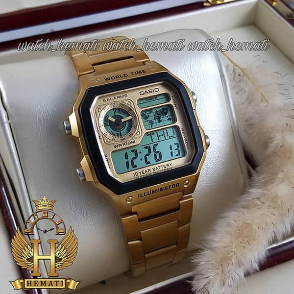 خرید اینترنتی ساعت مردانه کاسیو جهان نما Casio World Time AE-1200WHD-1AVDF طلایی