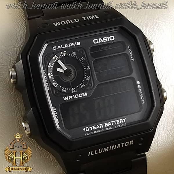 ساعت مچی مردانه کاسیو جهان نما Casio World Time AE-1200WHD-1AVDF مشکی