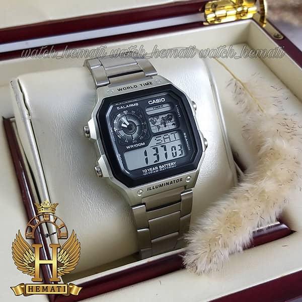 خرید انلاین ساعت مردانه کاسیو جهان نما Casio World Time AE-1200WHD-1AVDF نقره ای