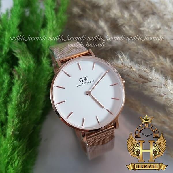عکس ساعت مچی زنانه دنیل ولینگتون قطر 32 میلیمتر Daniel Wellington DWL11 رزگلد با بند حصیری صفحه سفید