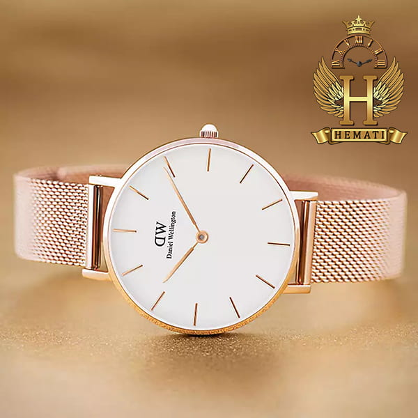 مشخصات ساعت زنانه دنیل ولینگتون قطر 32 میلیمتر Daniel Wellington DWL11 رزگلد با بند حصیری صفحه سفید