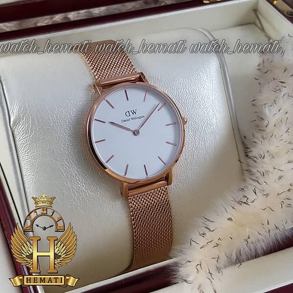 خرید انلاین ساعت زنانه دنیل ولینگتون قطر 32 میلیمتر Daniel Wellington DWL11 رزگلد با بند حصیری صفحه سفید