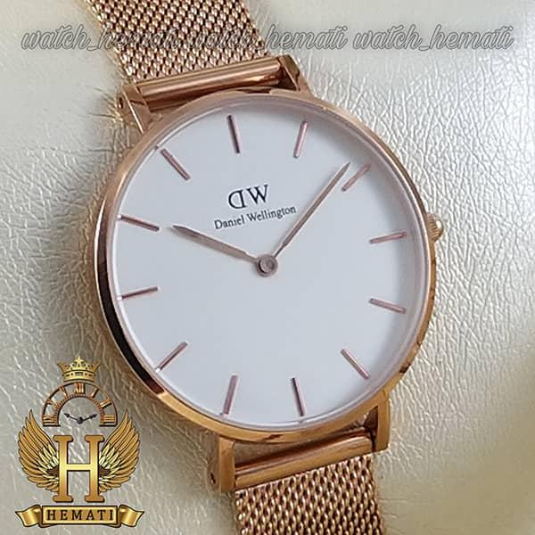 خرید ارزان ساعت زنانه دنیل ولینگتون قطر 32 میلیمتر Daniel Wellington DWL11 رزگلد با بند حصیری صفحه سفید