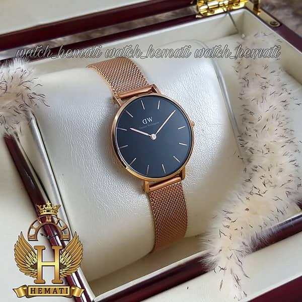 عکس ساعت زنانه دنیل ولینگتون قطر 32 میلیمتر Daniel Wellington DWL14 رزگلد با بند حصیری صفحه مشکی
