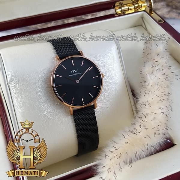 قیمت ساعت زنانه دنیل ولینگتون قطر 32 میلیمتر Daniel Wellington DWL12 قاب رزگلد با بند مشکی حصیری
