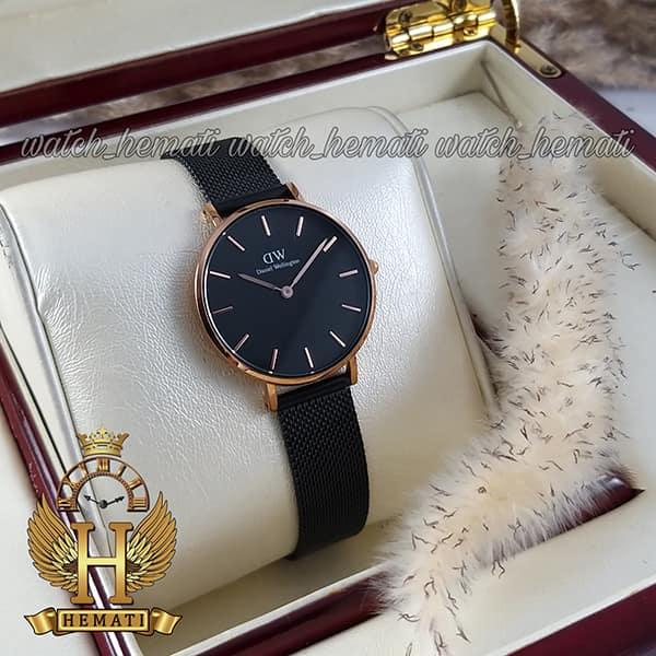 مشخصات ساعت زنانه دنیل ولینگتون قطر 32 میلیمتر Daniel Wellington DWL12 قاب رزگلد با بند مشکی حصیری