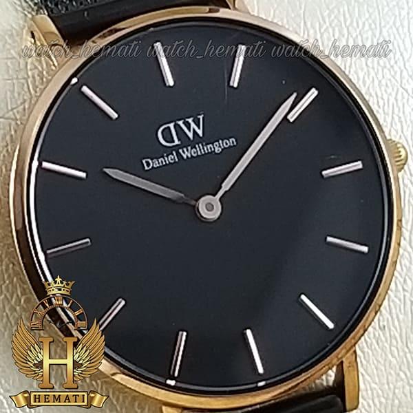 خرید اینترنتی ساعت زنانه دنیل ولینگتون قطر 32 میلیمتر Daniel Wellington DWL12 قاب رزگلد با بند مشکی حصیری