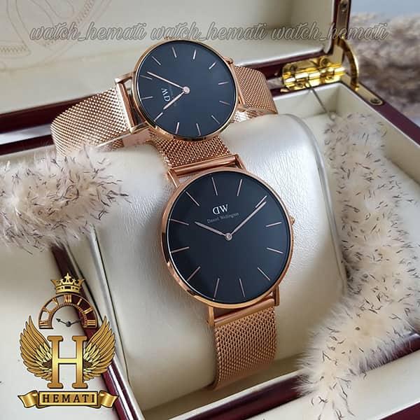 خرید ، قیمت ، مشخصات ساعت ست زنانه و مردانه دنیل ولینگتون Daniel Wellington DWSET50 رزگلد با صفحه مشکی