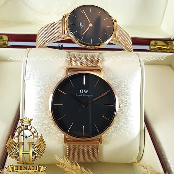 خرید ارزان ساعت ست زنانه و مردانه دنیل ولینگتون Daniel Wellington DWSET50 رزگلد با صفحه مشکی
